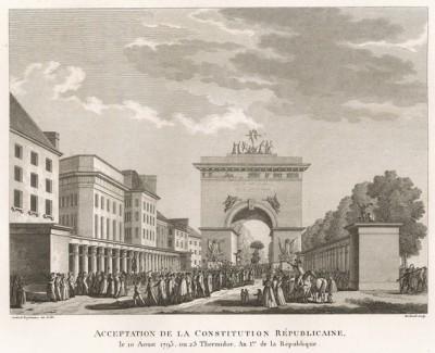 Принятие Республиканской Конституции. 10 авг. 1793 г. отмечается годовщина первой конституции Французской республики. По этому случаю Конвент принимает петиции от представителей всех областей. Торжества проходят спокойно, вечером был салют. Париж, 1804