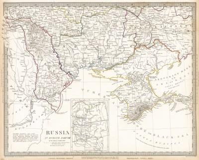 Карта Европейской России (часть 8). Maps of the Society for the Diffusion of Useful Knowledge. Лондон, 1835