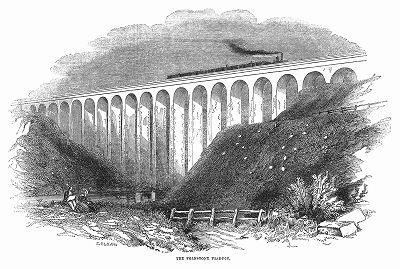 Грандиозный железнодорожный виадук в городе Фолкстон английского графства Кент, построенный в 1844 году выдающимся британским инженером и конструктором Сэром Уильямом Кабиттом (1785 -- 1861) (The Illustrated London News №92 от 03/02/1844 г.)