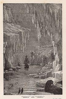 """Корабли """"Эребус"""" и """"Террор"""" в Исландии. Гравюра из серии  """"Half Hours In The Far North"""", Лондон, 1897 год"""