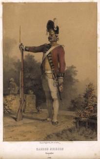 Гренадер швейцарской гвардии французского короля в 1792 году (литография  Н.-Т. Шарле)