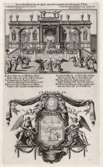 1. Имя Бога изгоняет сатану 2. Апостол Павел на пути в Иерусалим (из Biblisches Engel- und Kunstwerk -- шедевра германского барокко. Гравировал неподражаемый Иоганн Ульрих Краусс в Аугсбурге в 1694 году)