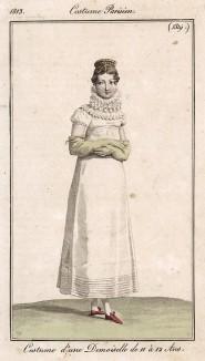 Наряд юной девушки двенадцати лет. Из первого французского журнала мод эпохи ампир Journal des dames et des modes,, Париж, 1813. Модель № 1319