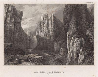 Перевал Панкорбо город в провинции Бургос. Meyer's Universum, Oder, Abbildung Und Beschreibung Des Sehenswerthesten Und Merkwurdigsten Der Natur Und Kunst Auf Der Ganzen Erde, Хильдбургхаузен, 1840 год.
