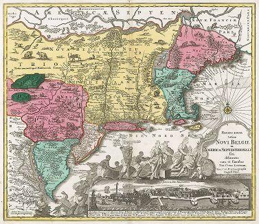Карта северо-восточного побережья Северной Америки и панорама Нью-Йорка (Нового Амстердама). Recens edita totius Novi Belgii in America Septentrionalis.