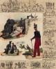 13 миниатюр, изображающих маркитантов, обоз и сынов полка в разные эпохи (в центре: помощь раненому, ветеран французской армии) (из Esquisses historiques... de l'armée francaise генерала Амбера. Брюссель. 1841 год)