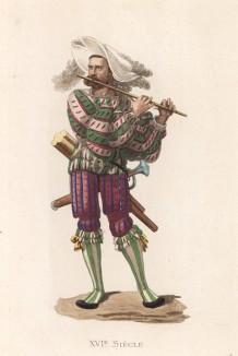 """Ландскнехт - флейтист (XVI век) (лист 6 работы Жоржа Дюплесси """"Исторический костюм XVI -- XVIII веков"""", роскошно изданной в Париже в 1867 году)"""