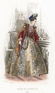 Женские моды в эпоху Генриха III: приталенное парчовое платье с прорезными рукавами, берет со страусиным пером.