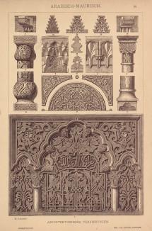 """Декоративные элементы исламской архитектуры (лист 26 альбома """"Сокровищница орнаментов..."""", изданного в Штутгарте в 1889 году)"""
