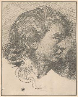 Женский портрет в профиль. Рисунок Жана-Батиста Грёза из собрания библиотеки Императорской Академии художеств.