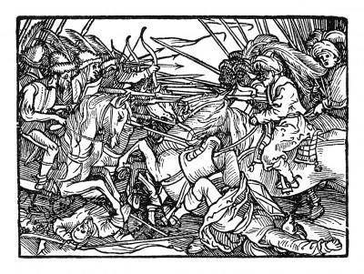 Схватка в пустыне. Иллюстрация Йорга Бреу Старшего к описанию путешествия на восток Лодовико ди Вартема: Ludovico Vartoman / Die Ritterliche Reise. Издал Johann Miller, Аугсбург, 1515