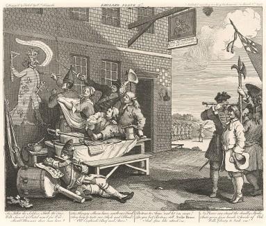 Вторжение: Англия, гравюра II, 1756. В ожидании войны с французами британцы беззаботно насмехаются над королем Франции. Они уверены в своей будущей победе. Справа доброволец: он прибавляет себе рост, чтобы попасть в армию. Лондон, 1838