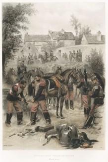 Французские кирасиры на привале в 1886 году (из Types et uniformes. L'armée françáise par Éduard Detaille. Париж. 1889 год)