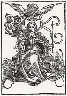Мария на троне, венчаемая ангелом (гравюра, исполненная Дюрером в 1493 году)