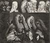 Судьи, 1758. Гравюра Хогарта, сделанная с живописного полотна, существенно отличается от картины. Хогарт, выделяя гравюру как особый вид искусства, экспериментировал с графическим средствами изображения. Геттинген, 1854