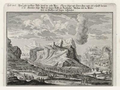 Моисей выводит израильтян из египетского плена (из Biblisches Engel- und Kunstwerk -- шедевра германского барокко. Гравировал неподражаемый Иоганн Ульрих Краусс в Аугсбурге в 1700 году)