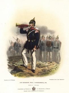 Трубач 1-го Бранденбургского лейб-гренадерского полка прусской гвардии в униформе образца 1870-х гг. Preussens Heer. Берлин, 1876