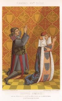 Гербовые костюмы, популярные в эпоху рыцарских турниров и имитировавшие костюм рыцаря: на ткани изображались латы, гербы, блио, попоны лошадей (из Les arts somptuaires... Париж. 1858 год)