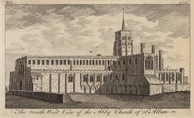 Южный фасад собора Святого Албана в Хартфордшире (из A New Display Of The Beauties Of England... Лондон. 1776 год. Том 1. Лист