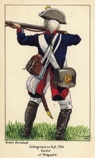 1790 г. Солдат гвардейского пехотного полка zu Fuss ландграфства Гессен-Дармштадт в бою. Коллекция Роберта фон Арнольди. Германия, 1911-29
