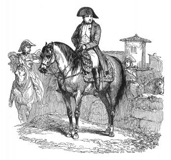 8 мая 1805 г. Наполеон I прибывает в Милан, оттуда едет в Маренго, где проводит смотр войск. В генеральской форме, в которой сражался 14 июня 1800 г., он закладывает камень будущего памятника павшим. Histoire de l'empereur Napoléon. Париж, 1840
