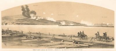 Плавучий мост на Дунае под Силистрией. Взрыв мины под Арабским фортом в июне 1854 года (с рисунка К. Н. Филиппова) (Русский художественный листок. № 30 за 1854 год)