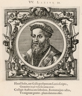 Вольфганг Лазиус (1514--1565 гг.) -- австрийский врач, зоолог, историк и гравёр (лист 59 иллюстраций к известной работе Medicorum philosophorumque icones ex bibliotheca Johannis Sambuci, изданной в Антверпене в 1603 году)