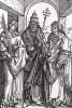 Святой Стефан (первый христианский мученик), святой папа Сикст II (?--258) и святой Лаврентий (225--258) (гравюра Альбрехта Дюрера)