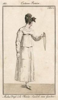 Головной платок, завязанный по-китайски, летний плащик из перкаля. Из первого французского журнала мод эпохи ампир Journal des dames et des modes, Париж, 1813. Модель № 1305