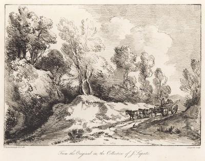 Пейзаж с телегой на дороге. Гравюра с рисунка знаменитого английского пейзажиста Томаса Гейнсборо из коллекции Дж. Лапорта. A Collection of Prints ...of Tho. Gainsborough, Лондон, 1819.