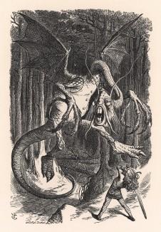 Летит ужасный Бармаглот и пылкает огнём! (иллюстрация Джона Тенниела к книге Льюиса Кэрролла «Алиса в Зазеркалье», выпущенной в Лондоне в 1870 году)