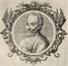 Паулус Эгинета (625--690 гг.) -- знаменитый хирург (лист 23 иллюстраций к известной работе Medicorum philosophorumque icones ex bibliotheca Johannis Sambuci, изданной в Антверпене в 1603 году)