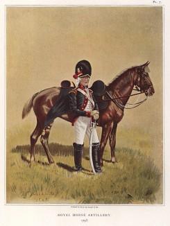 """Офицер конной артиллерии в форме образца 1793 года (лист VII работы """"История мундира королевской артиллерии в 1625--1897 годах"""", изданной в Париже в 1899 году)"""