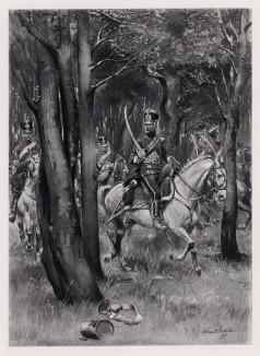 """1809 год. Французские конные егеря в лесном дозоре (иллюстрация к известной работе """"Кавалерия Наполеона"""", изданной в Париже в 1895 году)"""