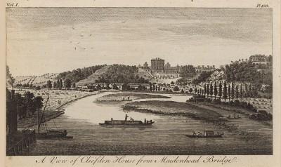 Вид на Клифден-Хаус, построенный архитектором Чарльзом Бэрри, с моста Мейденхед в графстве Букингемшир (из A New Display Of The Beauties Of England... Лондон. 1776 год. Том 1. Лист 133)