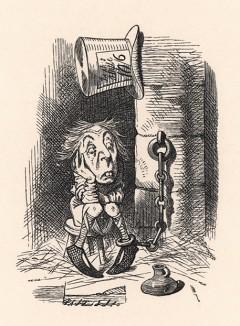 Он сейчас в тюрьме, отбывает наказание, а суд начнётся только в будущую среду (иллюстрация Джона Тенниела к книге Льюиса Кэрролла «Алиса в Зазеркалье», выпущенной в Лондоне в 1870 году)