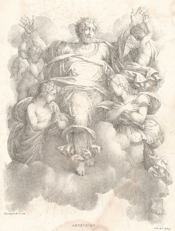 Вознесение Господне. Литографировал Филипп-Огюст Эннекен. Recueil d'esquisses et fragmens de compositions, tirés du portefeuille de Mr. Hennequin. Турне (Бельгия), 1825