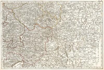 Карта части Чехии и Венгрии. Россия, 2-я четверть XIX века.