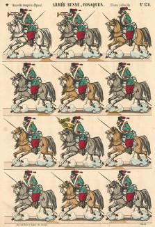 Казаки. Nouvelle Imagerie d'Épinal. Armée russe, cosaques. 10 cent. la feuille №174 (фр.). Эпинальская картинка. Париж, 1880-е гг.