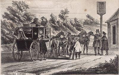 Смена лошадей на почтовой станции.