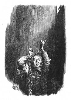 Барон Фридрих фон дер Тренк (1727-1794), любовник сестры Фридриха Великого и австрийский шпион, примеряет кандалы весом 68 фунтов в камере форта Берге. Илл. Адольфа Менцеля. Geschichte Friedrichs des Grossen. Лейпциг, 1842, с.491