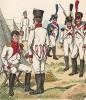 1812 г. Униформа пехотных частей, сформированных в Вюрцбурге. Uniformenkunde Рихарда Кнотеля, часть 2, л.34. Ратенау (Германия), 1891