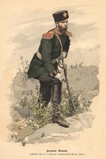 Офицер 1-ой бригады русской гвардейской артиллерии (из альбома литографий Armée française et armée russe, изданного в Париже в 1888 году)
