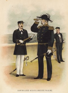 Голландия. Флаг-офицер (адмирал или капитан), вахтенный офицер и мичман Королевского военно-морского флота в парадной форме (иллюстрация к работе Onze krijgsmacht met bijshriften... (голл.), изданной в Гааге в 1886 году)