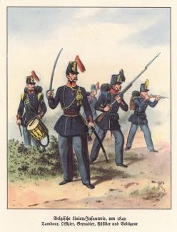 Бельгийская линейная пехота в 1842 году (из популярной в нацистской Германии работы Мартина Лезиуса Das Ehrenkleid des Soldaten... Берлин. 1936 год)