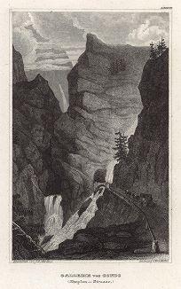 Перевал Симплон в Альпах. Meyer's Universum, Oder, Abbildung Und Beschreibung Des Sehenswerthesten Und Merkwurdigsten Der Natur Und Kunst Auf Der Ganzen Erde, Хильдбургхаузен, 1835 год.