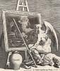 Время окуривает картину, 1761. Подписной талон на покупку «Сигизмунды». Сюжет навеян модой на живописные работы старых мастеров. Хогарт пытался убедить арт-дилеров и покупателей, что не все старое представляет художественную ценность. Лондон, 1838