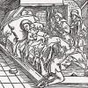 """Любительница собачек на смертном одре (иллюстрация к книге """"Рыцарь Башни"""", гравированная Дюрером в 1493 году)"""