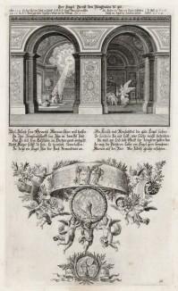 1. Ангел открывает тайну Девы Марии Иосифу 2. Богоматерь (из Biblisches Engel- und Kunstwerk -- шедевра германского барокко. Гравировал неподражаемый Иоганн Ульрих Краусс в Аугсбурге в 1694 году)