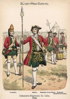 Гренадер и офицер саксонской пехоты (полк Du Caila) в униформе образца 1730 г. Uniformenkunde Рихарда Кнотеля, часть 2, л.36. Ратенау (Германия), 1891